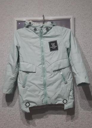 Куртка для девочки 9-10лет демисезонная мят но ого цвета