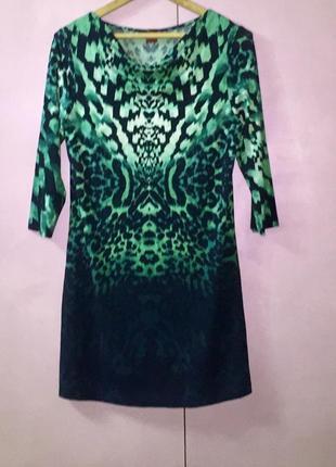 Туника короткое платье в изумрудный леопардовый принт