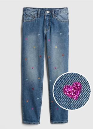 Gap denim. новые классные джинсы с разноцветными сердцами. 10-11 лет,140 см рост8 фото