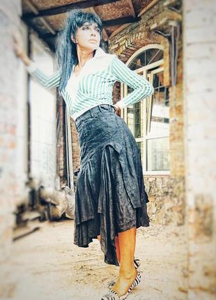 Completo lino юбка льняная лен асимметричная миди в бохо стиле