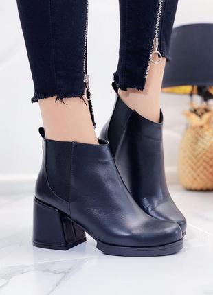 Новые женские кожаные черные осенние ботинки ботильоны
