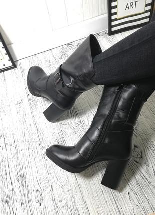 Новые натуральные кожаные зимние ботильоны на каблуке