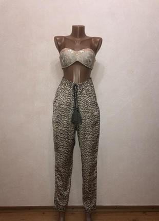 Атласные шелковые штаны легкие с помпонами лимитированная коллекция