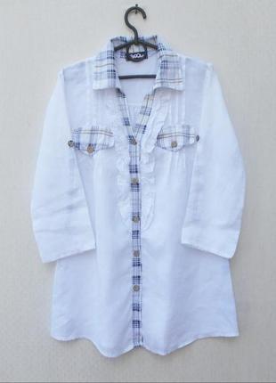 Белая летняя льняная удлиненная рубашка с рукавом 3/4 с воротником 🌿