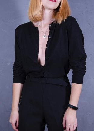 Черный кардиган, короткий кардиган, полуприталенный свитер на пуговицах