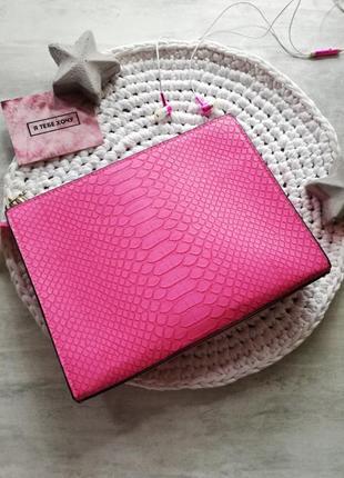 Victoria's secret яркий розовый клатч под питона3 фото