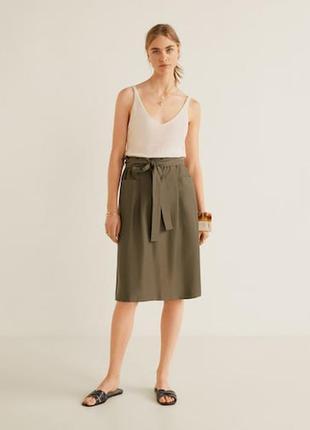 F&f юбка хаки миди с завышенной талией