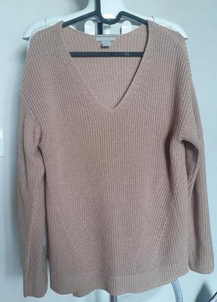 Пудровый бежевый свитер свитр беж шерстяной джемпер