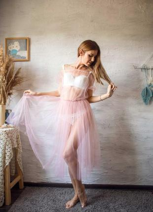 Будуарное платье нежно-розового цвета. эротический наряд для фотосессий