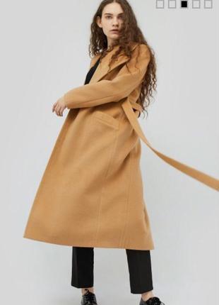 Шерстяное, кашемировое пальто на запах