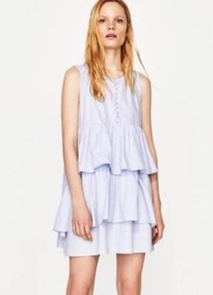 Голубе котонове плаття з воланами з бусінками № 89