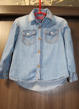 Джинсовая рубашка rebel на мальчика 3-4 года в идеальном состоянии