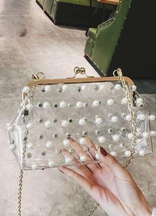 Силиконовая сумочка с жемчугом