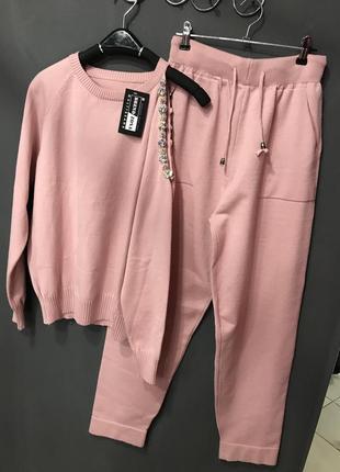 🔥нежно розовый вязаный костюм с камнями