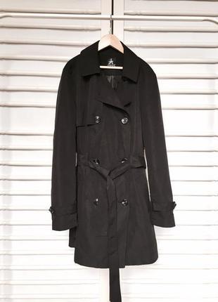 Стильное пальто тренч с поясом и длинным рукавом