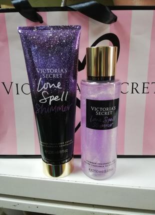 Набор парфюмированный спрей + лосьон victoria's secret love spell shimmer