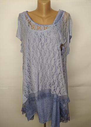 Платье голубое итальянское красивое гипюр кружево uk 18-20