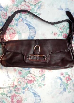 Кожаная сумка-багет jimmy choo коричневого цвета