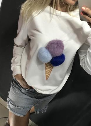 Женский свитшот свитер толстовка с мороженком мех натуральный