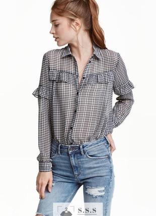 Рубашка с кокеткой, в клетку h&m
