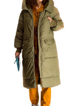 Женское пальто хаки цвета wiya (италия) размер m-l