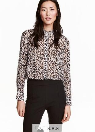 Блузка из воздушного шифона с воротником с оборкой , леопардовый принт h&m