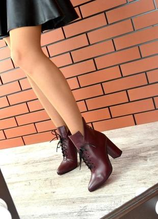 Осень натуральная кожа эффектные ботильоны на широком каблуке с острым носком люкс
