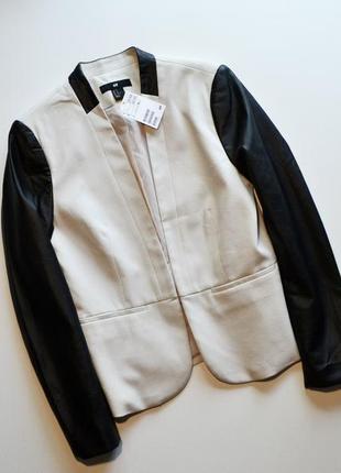 Стильный пиджак с кожаными рукавами h&m, жакет приталенный