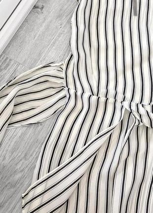 Новая актуальная белая блуза в полоску от zara, удлинённая блуза на запах3 фото