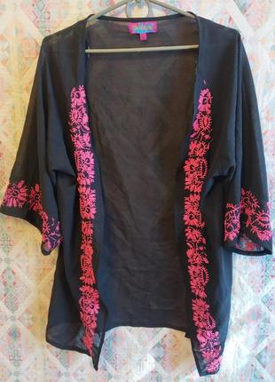 Пляжная туника, накидка, кардиган вышивка кимоно