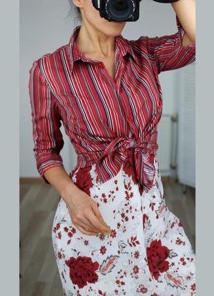 Полосатая, натуральная,цветная,сочная рубашка