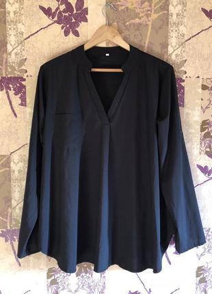 Блуза рубашка с длинным рукавом v вырез нагрудный карман оверсайз oversize l xl xxl xxxl