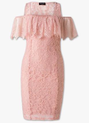 Изумительное кружевное платье и нижнее утягивающее формирующее платье розовое пудра