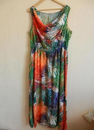 Натуральный сарафан платье в пол с обалденным тропическим принтом