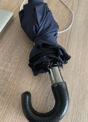 Massimo dutti зонт большой плотная материя кожа ручка синий