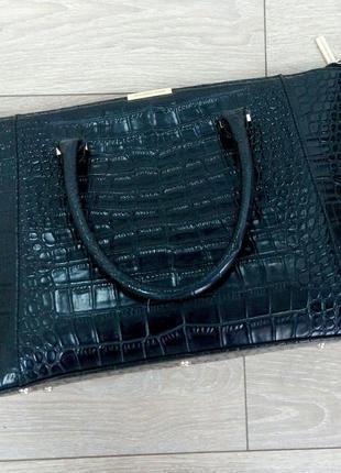 """Обалденная черная стильная сумка под рептилию """" victoria beckham"""""""