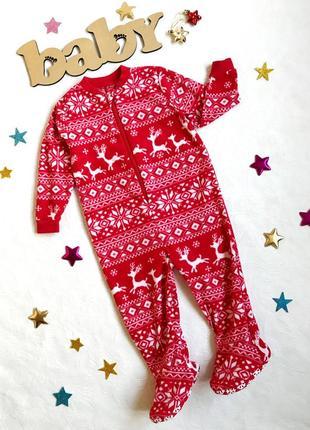 Новогодний флисовый слип/ кигуруми /пижама/человечек/комбинезон с оленями george