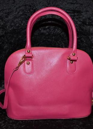 Розовая кожаная сумка vera pelle