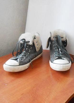 Высокие зимние кеды с отворотом от бренда converse, р.40 код m4039
