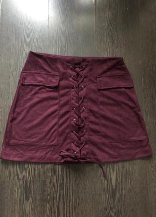 Замшевая юбка на шнуровке спереди