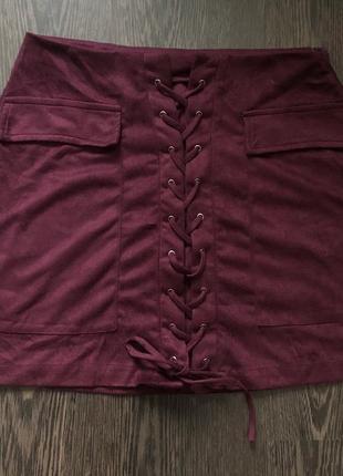 Замшевая юбка на шнуровке спереди и много скидок🌹🌺🌺❤️4 фото