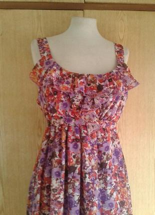 Крепдешиновое платье розовое с фиолетовым ,l.