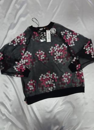 Сетка блуза-реглан из органзы с вышивкой