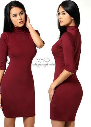 Облегающее платье - гольфик винного цвета boohoo1 фото