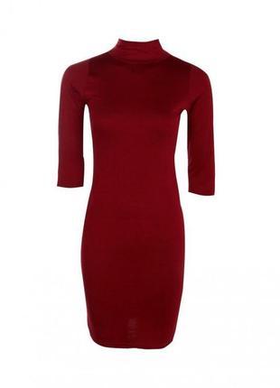 Облегающее платье - гольфик винного цвета boohoo2 фото