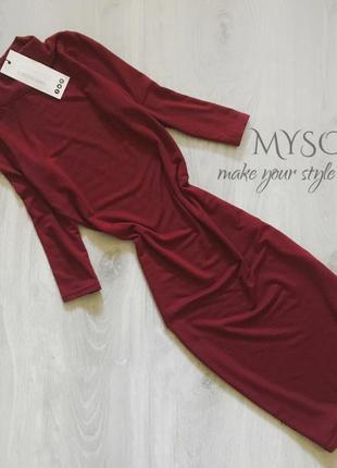 Облегающее платье - гольфик винного цвета boohoo5 фото