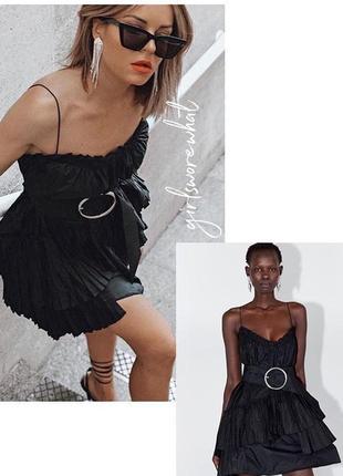 Zara новая коллекция! мини платье с ассиметричным подолом5 фото