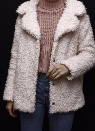 Пудровая искусственная шуба candy couture3 фото