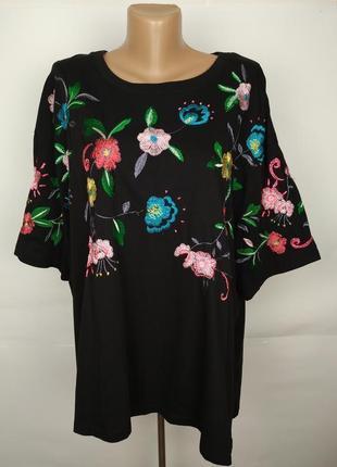 Блуза хлопковая трикотажная ч вышивкой большого размера asos uk 22/50/4xl