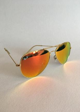Оригинальные зеркальные очки ray ban aviator 3025 в металлической оправе
